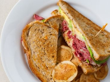 Reuben Sandwich with Fresh Avocado Slices
