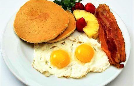 Pancakes, eggs, bacon & potatoes