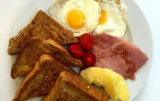 French Toast Platter with Eggs and Ham